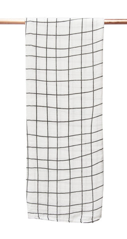 Bamboo/cotton muslin wrap - Grid Print