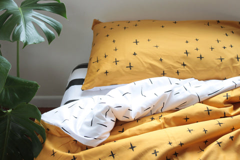 Limited Edition cross on Mustard with B+W Dash reverse Duvet Cover set