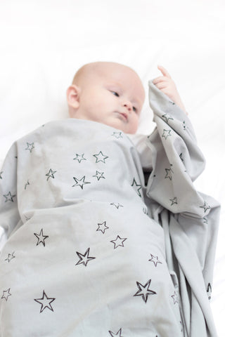 Organic cotton stretchy swaddle - Star print - Grey