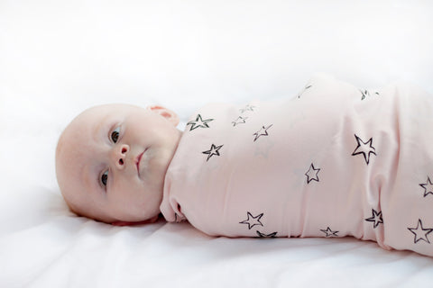 Organic cotton stretchy swaddle - Star print -Blush Pink