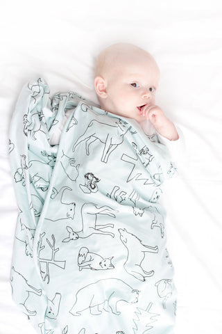 Organic cotton stretchy swaddle - Woodland print - Seafoam