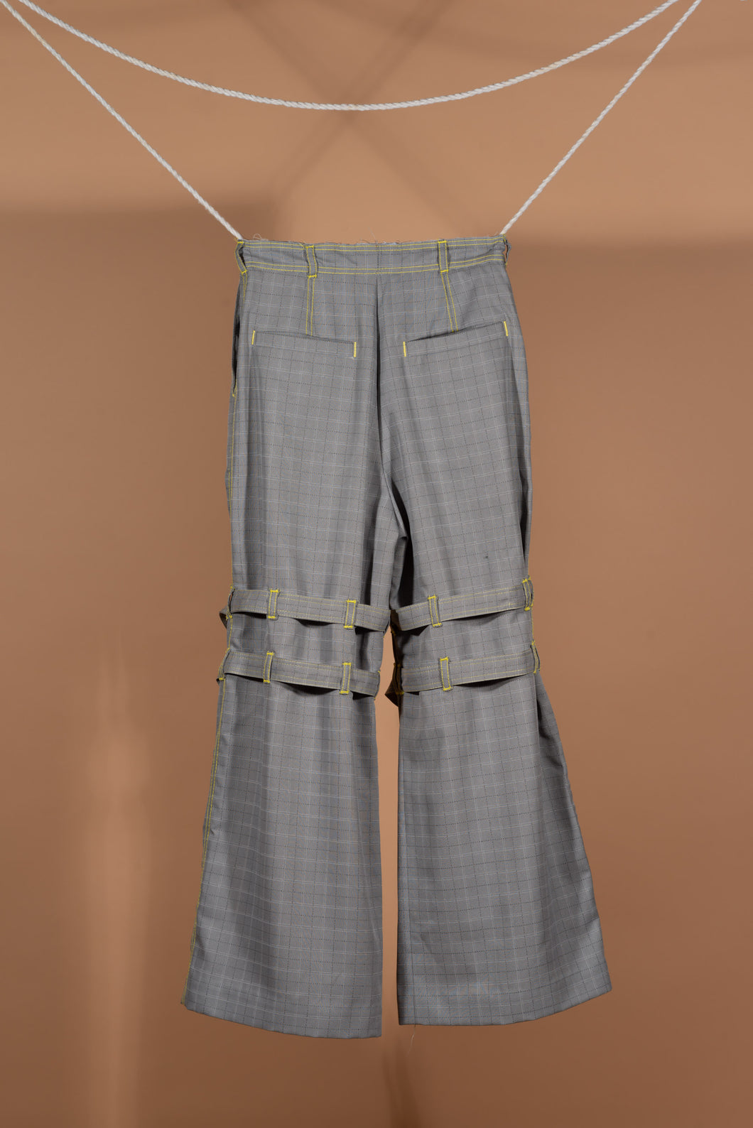 Belted Slit Pants (Plaid)