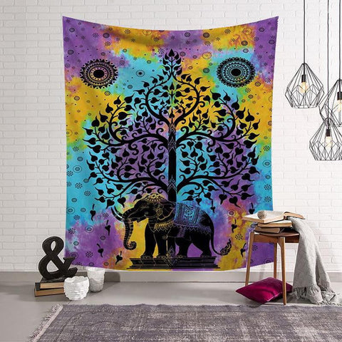 Indian Elephant Mandala Pattern Tapestry - Dharmic Buddha Power