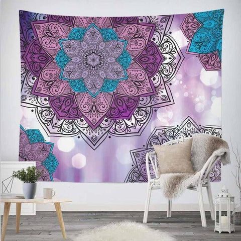 Purple Classical Flower Mandala Tapestry - Dharmic Buddha Power