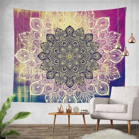 Purple Lotus Mandala Tapestry - Dharmic Buddha Power