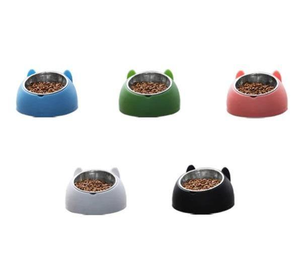 Stainless Steel Cat Bowl with Cat Ear Design Pet Feeders - The Pet Talk
