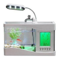 Mini Aquarium Fish Tank With LED Lamp LCD Display | The Pet Talk