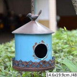 Antique Blue Green Iron Hanging Bird House | The Pet Talk