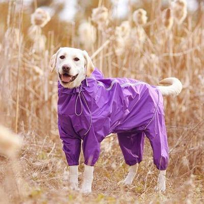 Dog Raincoat Reflective Raincoat Zipper High Neck Hooded Jumpsuit - The Pet Talk