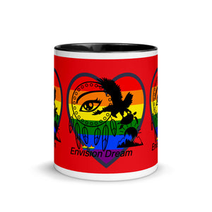Envision Dream Sip & Think Rainbow Red Mug with Color Trim