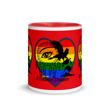 Load image into Gallery viewer, Envision Dream Sip & Think Rainbow Red Mug with Color Trim