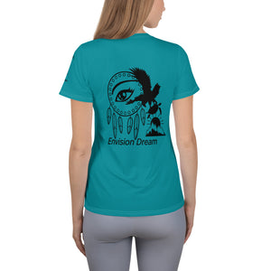 Envision, Capture, Roam Turquoise Athletic Woman's Shirt
