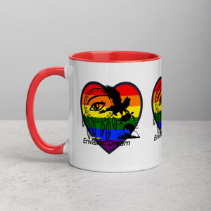 Envision Dream Sip & Think Rainbow Heart Ceramic Coffee Mug