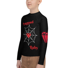Load image into Gallery viewer, Trapped Ruby Youth Rash Guard