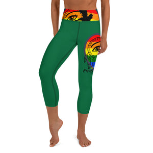 Envision Dream Rainbow Green Yoga Capri Leggings