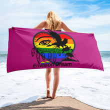 Load image into Gallery viewer, Envision Dream Rainbow Beach Towel Pink