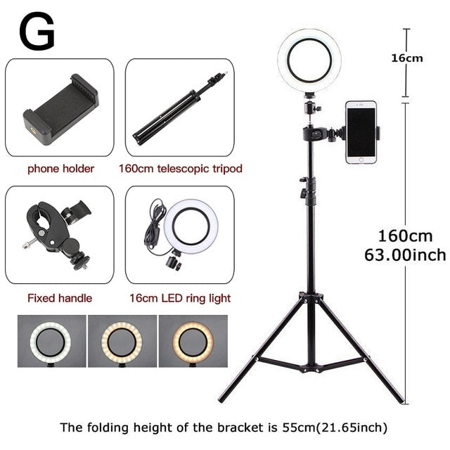 6.3''/10.2'' Camera Studio Ring Light Video LED Beauty Ring Light Photography Dimmable Ring Lamp+Tripod for Selfie/Live Show