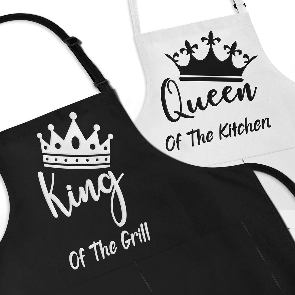 King Of The Grill & Queen Of The Kitchen Apron Set For Couple's