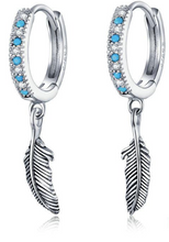 Load image into Gallery viewer, Turquoise Stone Feather Earrings