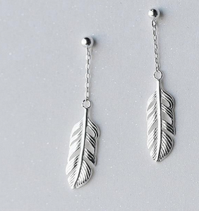 Chain Hollow Feather Earrings
