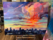 """New Orleans Skyline"" 36x48 original oil in canvas"
