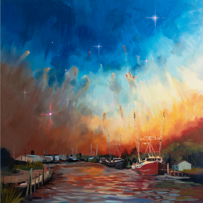 """Sailing Stars in the Early Morning"" original oil on canvas 40""x40"""