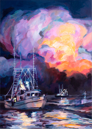 """Midnight Shrimpers"" 5x7 canvas print"