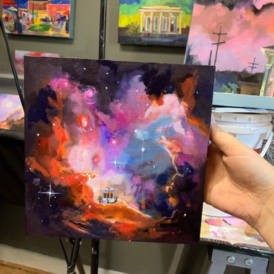 """I NEED SOME SPACE stay away pandemic 2020"" Original Oil on panel 8x8"
