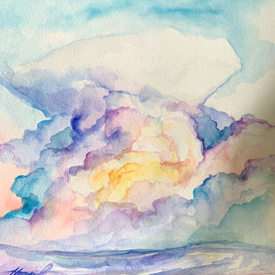 """Cloud color study"" original watercolor 8""x8"""