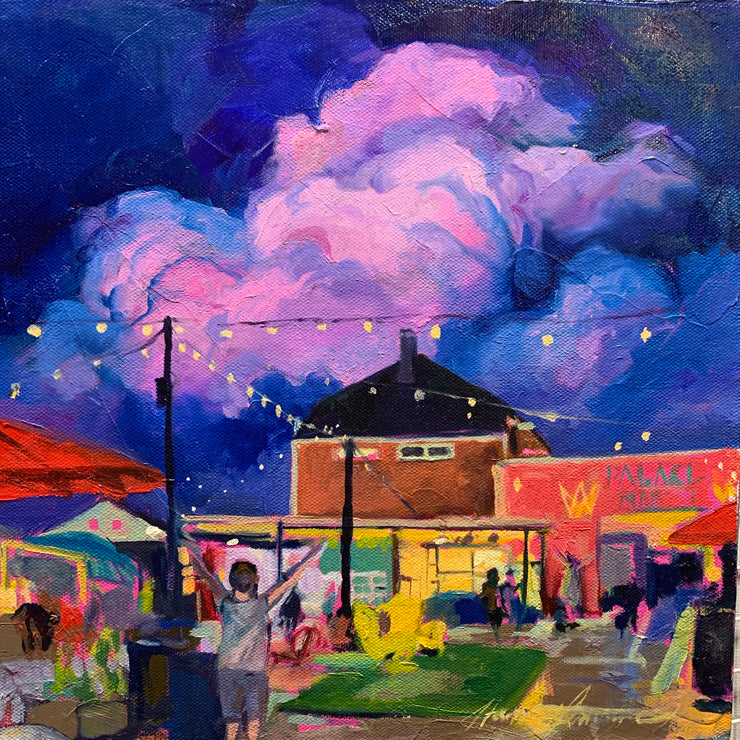 """Rained Out Market"" original oil in canvas 12x12"