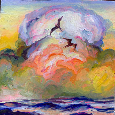 """Emerald Gulf Study"" original 5x5 oil on panel"