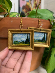 """Wheat Field with Cypress"" Van Gogh earrings"