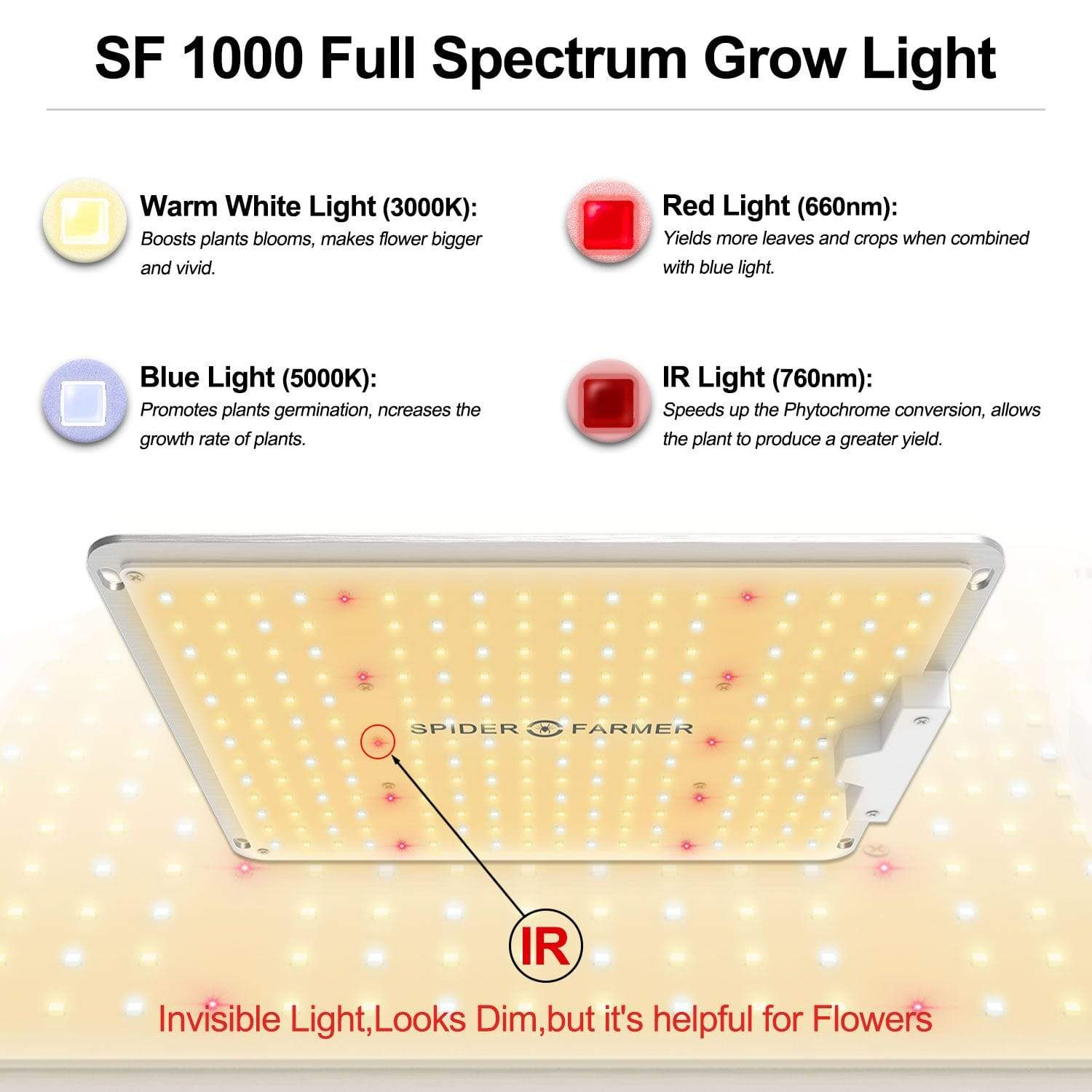 Full Spectrum Grow Light Shows all spectrum colours White Blue Red & Infrra Red spider farmer Spider Farmer sf4000 SF4000 sf2000 SF2000 & SF1000 sf1000  spiderfarmer LED Grow Lights UK Official Partner Supplier/Retailer