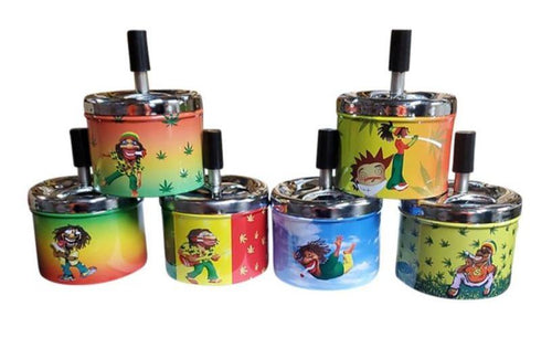 Rasta Designs Metal Spinning Ashtrays - Best Bongs And More