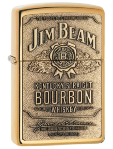 Genuine Zippo Jim Beam Windproof Refillable Lighter (Gold or Chrome) - Best Bongs And More