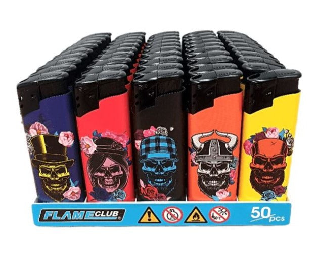 Flameclub Skull Refillable Lighters 5 Pack