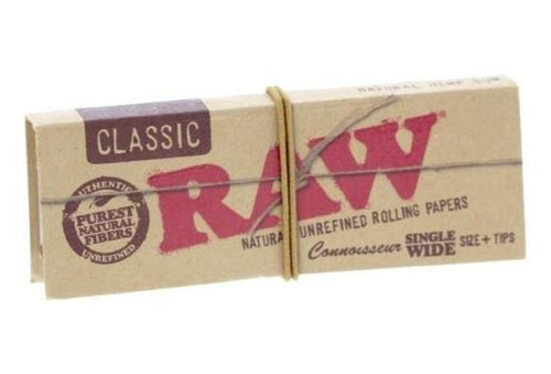 RAW Classic Single Wide Connoisseur Rolling Papers + Tips 50 Leaves - Best Bongs And More