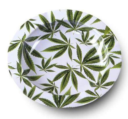 Leaves Design Metal Round Ashtray - Best Bongs And More