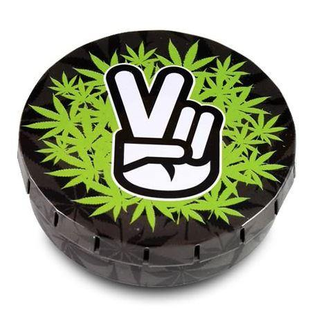 Metal Round Peace Fingers Green Leaves Stash Storage Tin - Best Bongs And More