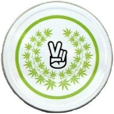 Large Metal Round Green Leaf Peace Finger Stash Storage Tin - Best Bongs And More