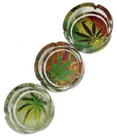 Leaf Designs Round Glass Ashtrays 2 PACK - Best Bongs And More