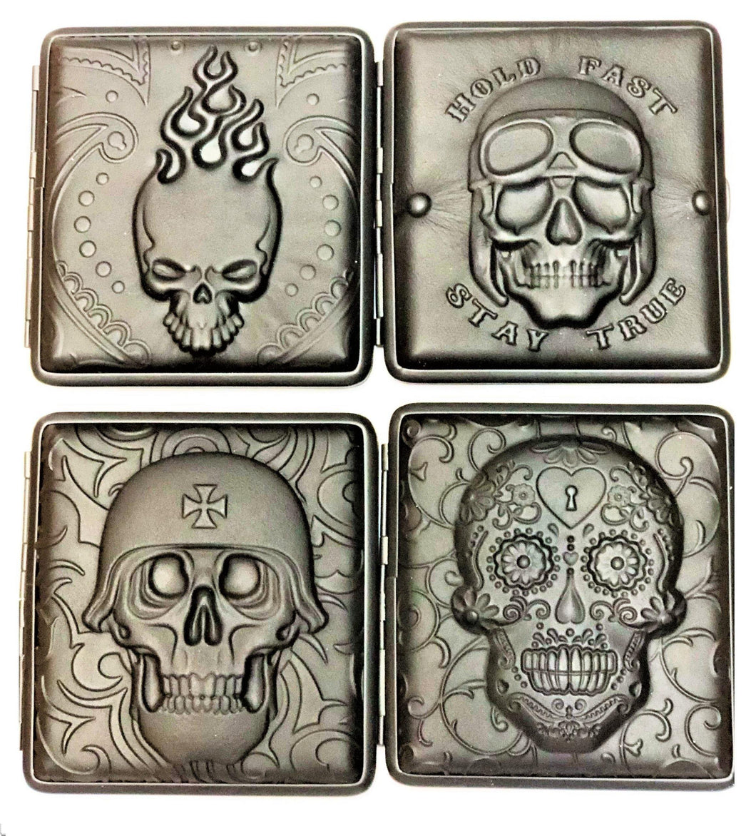 3D Skull Designs Cigarette Hard Case Tobacco Storage - Best Bongs And More