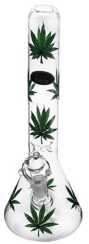 Stone Age Green Leaf Beaker Glass Bong 34cm - Best Bongs And More