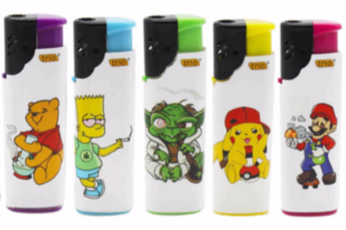 Cartoon Character Design Windproof Lighters Refillable 5 Pack - Best Bongs And More