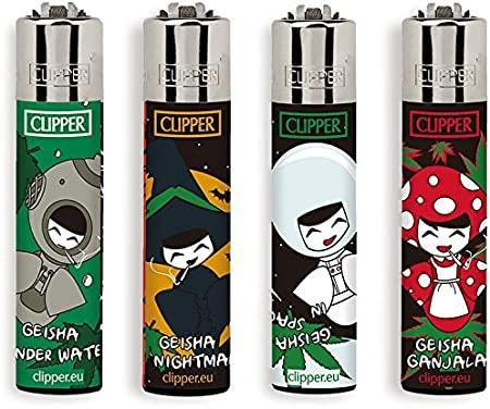 Clipper Large Smokey Geisha Refillable Lighters 4 Pack - Best Bongs And More
