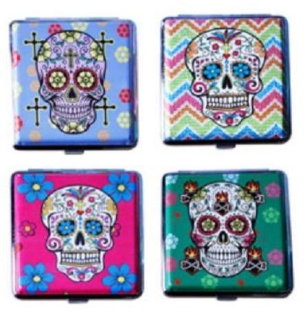 Candy Skull Designs Cigarette Hard Case Tobacco Storage - Best Bongs And More