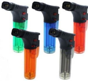 Clear Coloured Stand Up Blow Torch Refillable Twin Jet Lighter - Best Bongs And More