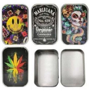 Metal Assorted Designs Stash Storage Tin - Best Bongs And More