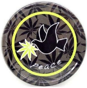 Large Metal Round Dove Green Leaf Peace Stash Storage Tin - Best Bongs And More