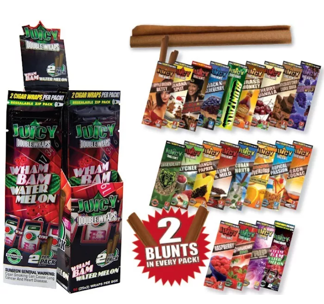 Juicy Jays Flavoured Double Blunt Wraps 2 Pack (20 Flavours)